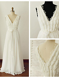 A-line Wedding Dress - Ivory Floor-length V-neck Chiffon