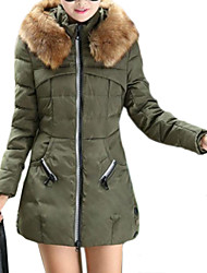 Women's Fur Collar Long Sleeve Slim Trench Coat