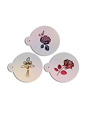 Varied Rose Design3# Fondant Cake Stencil,Plastic Cookie/Coffiee Stencil,Wedding Cake Design ,Fondant Cake Tools ST-3186