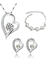 Jewelry Set Elegant Crystal Heart Pendant Necklace Earrings Braclet Girlfriend Gift