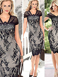 Women's Lace Black Dresses , Sexy / Bodycon Square Shorts
