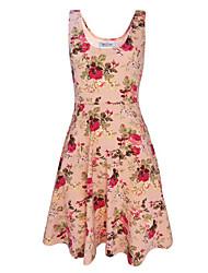 Women's Fashion Retro Printed Slim Fit Sleeveless Dress