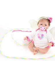NPKDOLL Reborn Baby Doll Soft Silicone 18inch 45cm Magnetic Lovely Lifelike Toy Cute Boy Girl Smile White Heart