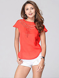 Women's Casual/Daily Simple Summer T-shirt,Solid Round Neck Sleeveless Pink / Red / White / Green Polyester Thin