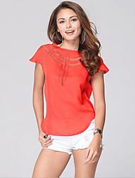 Damen Solide Einfach Lässig/Alltäglich T-shirt,Rundhalsausschnitt Sommer Ärmellos Rosa / Rot / Weiß / Grün Polyester Dünn