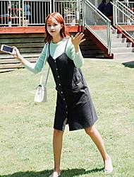 das mulheres de estilo coreano trabalho / casual / dia vestido da bainha sólida, alça acima de poliéster joelho