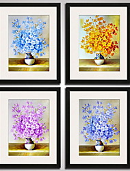 Framed Colorful Flowers Painitng Canvas Print Modern Wall Art Set of 4 Ready To Hang