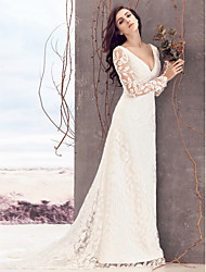 LAN TING BRIDE Sheath / Column Wedding Dress See-Through Court Train V-neck Lace with Lace