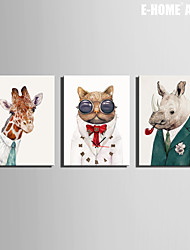 E-HOME® An Animal In A Suit Clock in Canvas 3pcs