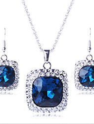 Lucky Doll Women's All Matching Luxury Gem 18K Gold Plated Necklace & Earrings Jewelry Sets