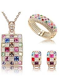 Jewelry Set Classic Elegant Multicolor Crystal Unique Design Pendant Necklace Earrings Bracelet Girlfriend Gift