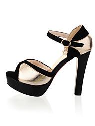 Women's Shoes Velvet / Leatherette Stiletto Heel Heels / Platform Sandals Office & Career / Dress / Casual Silver / Gold