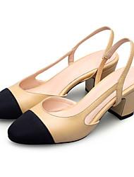 Chaussures Femme - Habillé / Soirée & Evénement - Noir / Amande - Gros Talon - Talons / Bout Arrondi - Talons - Cuir / Nappa Leather