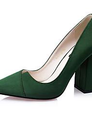 Women's Shoes Velvet Chunky Heel Heels Heels Dress / Casual Black / Green / Red / Gray / Khaki