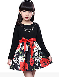 Girl's Black / Red Dress,Floral Rayon Spring / Fall