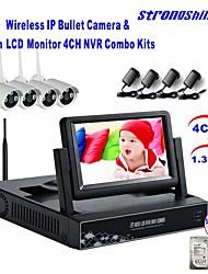 strongshine® caméra IP sans fil avec 960p / infrarouge / imperméable et NVR avec des kits de surveillance hdd lcd / 2 To 7inch