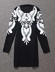 casual / dia / mudança vestido jacquard simples boutique s das mulheres, em torno do pescoço de mini outros