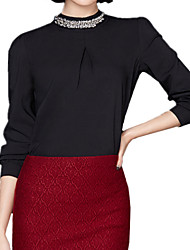 Spring Women's Stand Collar Beading Long Sleeve Solid Color Chiffon OL Shirt Party Blouse Tops