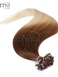 """neitsi 20 """"25s 1g / s de fusão da queratina u unha ponta reta ombre extensões de cabelo humano t6-60"""