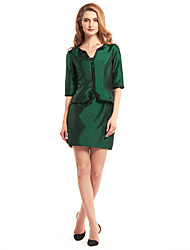 Lanting Sheath/Column Mother of the Bride Dress - Dark Green Short/Mini Half Sleeve Taffeta