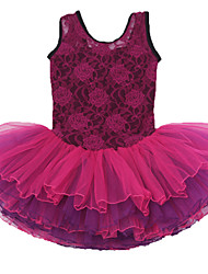 Ballet Dresses Children's Performance Cotton / Spandex Cascading Ruffle / Flower(s) 1 Piece Burgundy