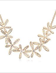 Feminino Gargantilhas Cristal Floco de Neve Gema Strass Liga Dourado Jóias Para