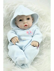 NPKDOLL Reborn Baby Doll Hard Silicone 11inch 28cm Waterproof Toy Hooded clothing Blue Boy
