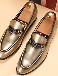 Men's Shoes Wedding / Office & Career / Party & Evening / Dress / Casual Patent Leather Loafers Brown / Gold