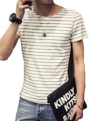 Herren Freizeit / Büro / Sport / Übergröße T-Shirt  -  Einfarbig Kurz Baumwolle