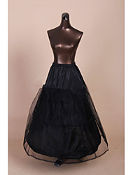 Slips A-Line Slip Ball Gown Slip Chapel Train Floor-length Tea-Length 2 Tulle Netting Polyester Black