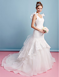 Lanting Fit & Flare Wedding Dress - Ivory Chapel Train Scoop Organza
