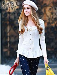 Damen Solide Einfach Formal T-shirt,Rundhalsausschnitt Frühling Langarm Weiß Polyester / Elasthan Mittel