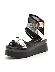 Women's Shoes Leatherette Flat Heel Peep Toe / Platform Sandals Office & Career / Dress / Casual Silver / Gold