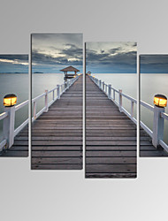 VISUAL STAR®Bridge on Sea Landscape Canvas Wall Art Modern Wall Decor Canvas Art Ready to Hang