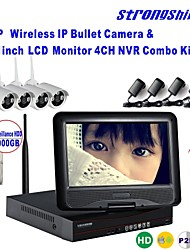 Strongshine® Wireless IP Camera with 960P/Infrared/Waterproof and NVR with 10.1Inch LCD /3TB Surveillance HDD Kits