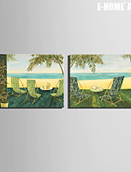 E-HOME® Stretched Canvas Art Beach Side Rest Decoration Painting  Set of 2