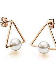 Titanium Steel Plating 18 K Rose Gold Pearl Earrings