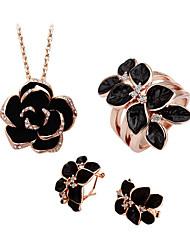 Jewelry Set Elegant Crystal Camellia Flower Pendant Necklace Earrings Ring Girlfriend Gift