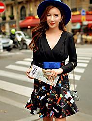 Robes ( Mousseline / Polyester ) Sexy / Bodycon / Imprimé / Soirée Col V à Manches longues pour Femme
