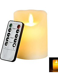 LED Flameless Electronic Candle with 10-key Controller (3 x AAA)