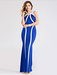 Women's Sexy / Party / Cocktail Striped / Patchwork Sheath Dress , Halter Maxi Polyester