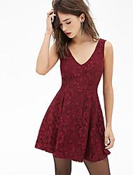 Women's Party / Cocktail Solid Plus Size / A Line Dress , V Neck Mini Modal