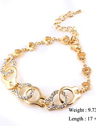 European Style Elegant Handcuffs Zircon Chain Bracelet Gold Plated