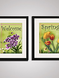 Framed  Colorful Tulip Flowers  Picture Print  on Canvas  for Livingroom Decoration Set of 2 Ready To Hang