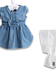 Girl's Blue Clothing Set , Bow Cotton Spring / Fall
