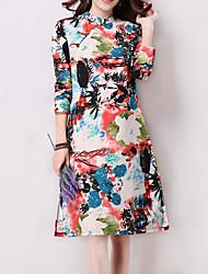 Women's Casual / Day /Split / Print Slim Thin Elegant Dress , Round Neck Knee-length Cotton / Linen