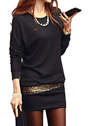 Women's Black/White Mini Dress, Batwing Sleeve Sequin Design