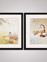 Framed  Chinese  Painitng Plum Blossom  and Bamboo Picture Print on Canvas Modern Art Set of 2 Ready To Hang