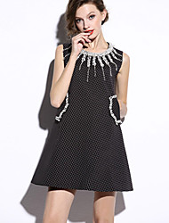 Boutique S Women's Work / Cute Polka Dot Loose Dress , Round Neck Mini Wool / Polyester