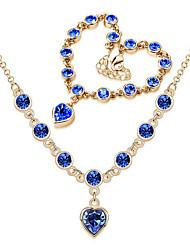 Jewelry Set Classic Elegant Crystal Unique Design Heart Pendant Necklace Bracelet Girlfriend Gift